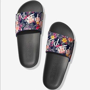 Vs Victoria's Secret Pink Slide Floral Logo M 7/8